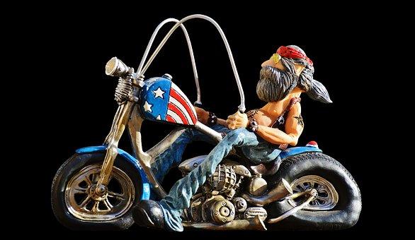 biker, vélo, tatoué