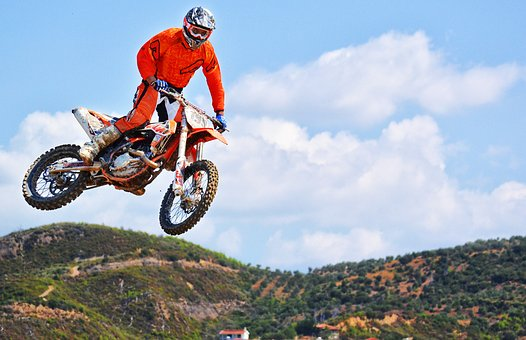 coureur de motocross, saut, dirt bike