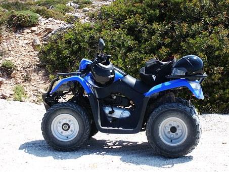quad, bleu, quatre roues