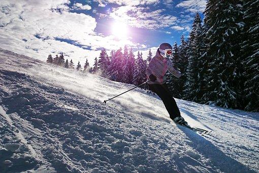 ski, jeune fille, soleil